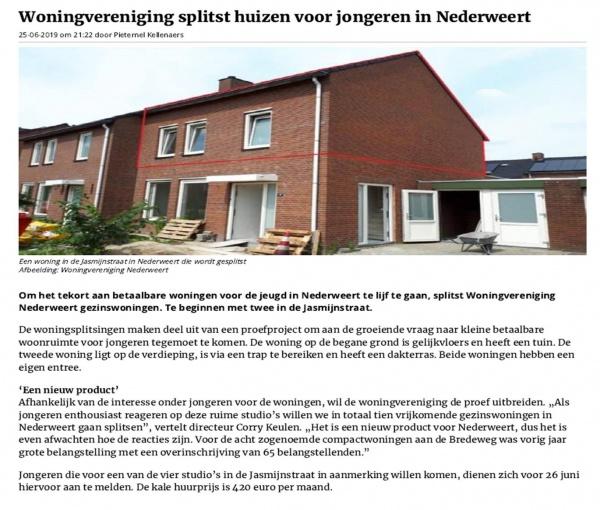 Woningverdubbeling eengezinswoningen Jasmijnstraat